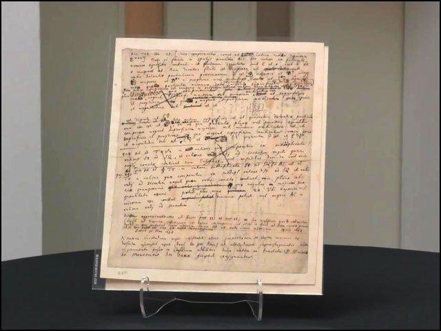 اس کاغذ پر تحریر سر آئزک نیوٹن کے ہاتھ سے لکھی ہوئی ہے اور 327 سال پرانی ہے۔ (تصاویر: کرسٹیز)